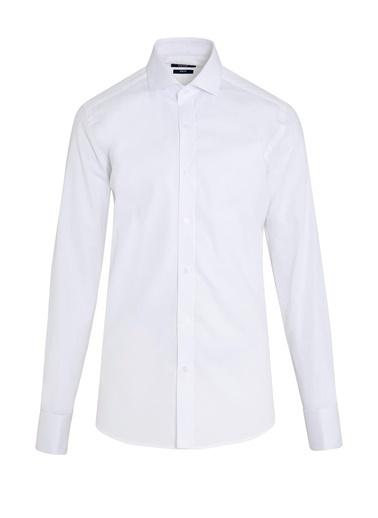 Hatemoğlu Desenli Slim Fit Gömlek Beyaz